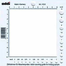Addi Stitch Counting Frame Needle Gauge US size 0 to 15 Metric 2 to 10 Plastic
