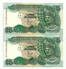 "MALAYSIA  RM5 x 2pcs r/n Without Cross Silver Security Thread Prefix NY  ""UNC"""