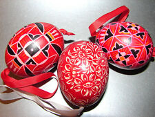 Set 3 Russian Pysanky EGGS Exquisitely Hand Painted Ornaments Easter Christmas