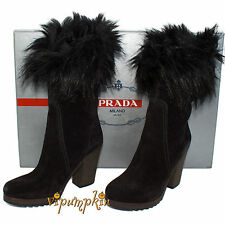 PRADA BLACK NERO SUEDE MID CALF FAUX FUR CUFF BOOTS NEW 38 EU 8 US