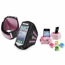 Black/Pink Sportband Armband Case+MP3 Holder Tofu For iPod Touch 5 5G 5th Gen