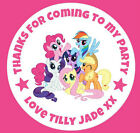48 Personalised Round My Little Pony Birthday Party Stickers Sweet Cone Bags