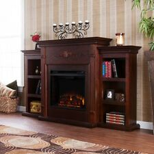 Electric Fireplace TV Stand Brown Wood Entertainment Media Center Free Standing