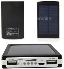 Black 30000mAh Dual USB Portable Solar Battery Charger Power Bank For Cell Phone