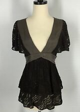 Ric Rac Anthropologie Lace Top XS Extra Small Brown Tie back Stretch Blouse #460