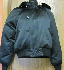 RALPH LAUREN BLACK DOWN HOODED BOMBER COAT JACKET WITH FAUX FUR SIZE LARGE