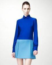 NWT Stella McCartney Blue Silk & Wool Detachable-Collared Dress 46 (US 12) $1520