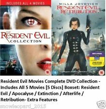 Resident Evil Movies Complete DVD Collection All 1 2 3 4 5 Films + Extras UK