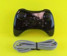 Genuine Official Nintendo Wii U Pro Black Wireless Controller & OEM Charge Cord