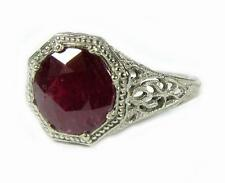 Engagement Promise 2.25CT Ruby Women Ring 10K White Gold Open Filigree HD ViDeO