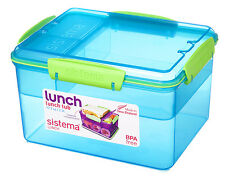 Sistema 2.3L Lunch Tub Box Storage Container with Multi Compartment Insert Blue