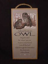 ADVICE FROM AN OWL wood INSPIRATIONAL SIGN wall hanging NOVELTY PLAQUE Wild Bird