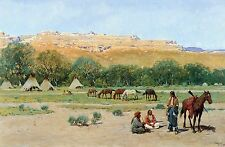 Indian Encampment by Henry Farny Teepee Horses Native American Indians 16x32