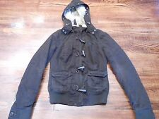 Abercrombie & Fitch Girl's Junior's Jacket Coat Lined Small Brown Faux Fur Hood