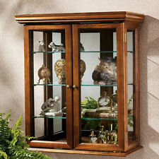 Wall Curio Cabinet Hanging Handmade Wood Living Room Furniture Glass Home Decor