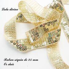 Ruban / Galon séquin paillette de 25 mm, vendu au mètre : Or clair