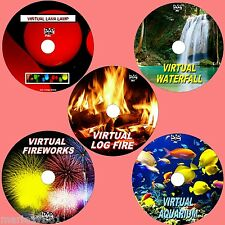VIRTUAL FISH TANK, LOG FIRE FIREWORKS WATERFALL & LAVA LAMP, 5 RELAXING DVDs NEW