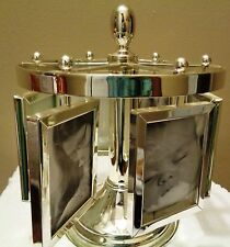 Silver Plated Carousel Revolving Baby Photo Frame Holder Holds 12 photos 3 x 2""