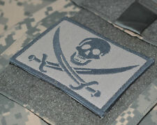 USMC FORCE RECON SNIPER OPERATOR SHOULDER VELCRO PATCH: CALICO JACK SKULL ACU