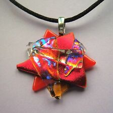 Dichroic Glass Red Sculptured Pendant Necklace Genuine Dichroic