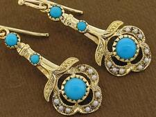 CE103-  GENUINE 9K 9ct 375 Solid Gold NATURAL Turquoise & Pearl Drop Earrings