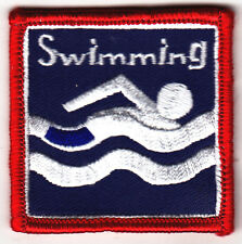 """SWIMMING"" w/SWIMMER -  Iron On Embroidered Patch - Swimming, Sports, Words"