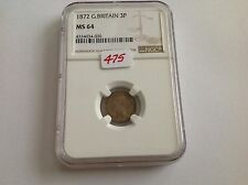 1872 Great Britain 3P Ngc Ms 64