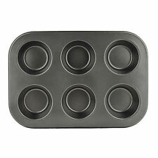 6 Cup Muffin Non Stick Bun Fairy Cake Baking Tray Bake Mould Tin Carbon Steel