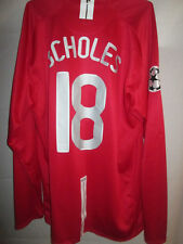 "Manchester United 2007-2008 Scholes Home Football Shirt XL 45""-47"" LS /15213"