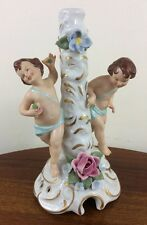 Antique Dresden Candlestick, Cherubs, Applied Flowers