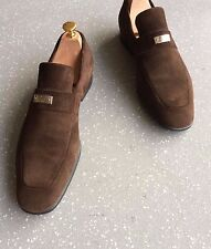 Men's GUCCI Marrone in Pelle Scamosciata CROMATO TAG Mocassini Tg UK 9 EU 43 US 10