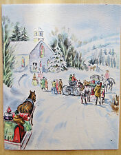 HALLMARK SLEIGH TO CHURCH E.A GUEST VINTAGE 1950 SIGNED CHRISTMAS HOLIDAY CARD