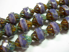 14 11x10mm Czech Glass Faceted Purple Opal Picasso Turbine Beads