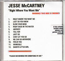 JESSE MCCARTNEY Right Where You Want Me UK 12-trk numbered promo test CD sealed