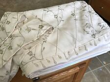 Embroidered Floral Beige Curtain Drape Panel Valance w/Beaded Fringe Window