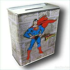 DC COMICS SUPERMAN MAN OF STEEL FIGHTING CRIME COMIC BOOK TIN MONEY BANK