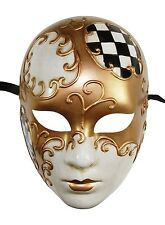 NEW Unisex Venetian Full Face Checker Masquerade Mask Vintage Hand Made Black