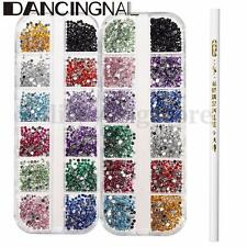 6000Pcs 2mm Acrylic UV Rhinestones Gems Studs 3D DIY Nail Art Decoration Set