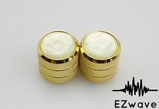 2 x Gold Metal Guitar Volume Tone Control Dome Knob with White Pearl Top