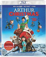 Arthur Christmas 3D Blu-ray DVD 3-Disc Set Ultraviolet UV Digital Copy Elf New