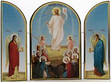 Beautiful Resurrection Icon - Easter Triptych - Jesus at Tomb - Made in Russia