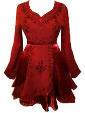 LONG RED MEDIEVAL PLUS SIZE BLOUSE TOP witch occult goth pagan 22 24 2XL 3XL