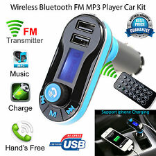 WIRELESS BLUETOOTH AUTO TRASMETTITORE FM RADIO LETTORE MP3 CARICABATTERIE KIT CON DUAL USB