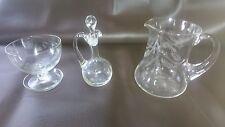Etched Leaf Pattern Vintage Crystal Glass vinaigrette Water Jug & Finger Bowl