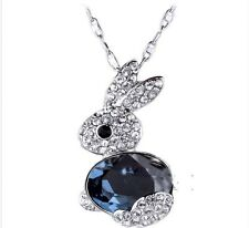 Cute silver blue bunny rabbit charm necklace with crystal
