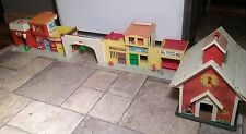 Vintage Fisher Price 1970s Family Play School House & Village Playsets