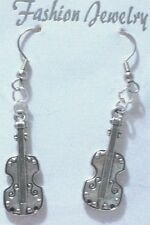 Cello Violin Earrings Antique Tibetan Silver Stainless Steel Hooks