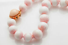"""Antique $5000 15"""" 15mm Natural Angel SKIN Coral BALL 14k Gold Necklace HEAVY 120"""