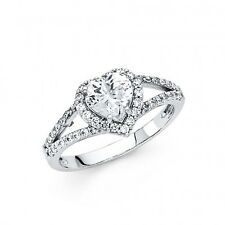 1.90 carat 14k Genuine White Gold  Heart cut  Engagement Wedding Promise  Ring