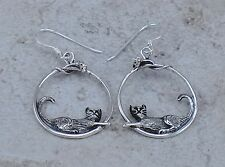 AMAZING .925 STERLING SILVER DANGLING CAT n MOUSE EARRINGS  style# e0951
